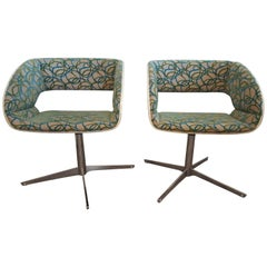 Pair of White Molded Plywood Swivel Chairs