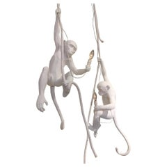 Pair of White Monkey Pendant Lights, Italy, Contemporary