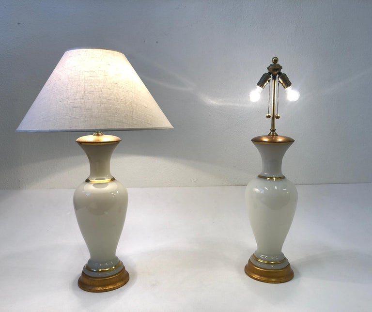 Pair of White Murano Glass and Brass Table Lamps by Marbro For Sale 3