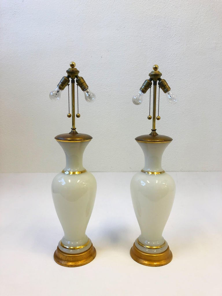 Pair of White Murano Glass and Brass Table Lamps by Marbro For Sale 4