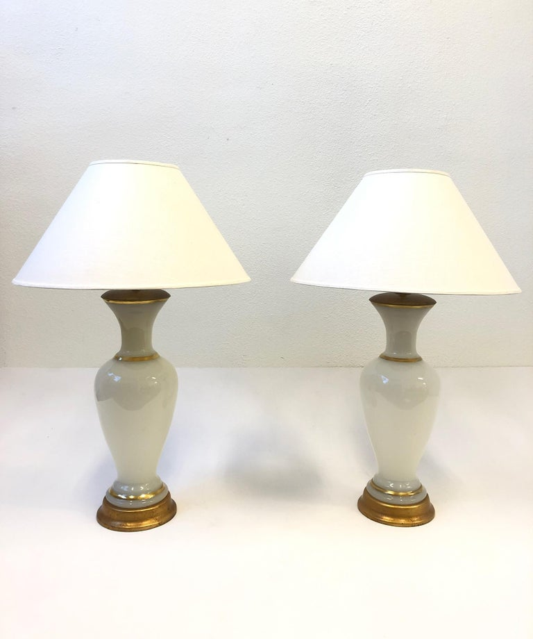 Italian Pair of White Murano Glass and Brass Table Lamps by Marbro For Sale