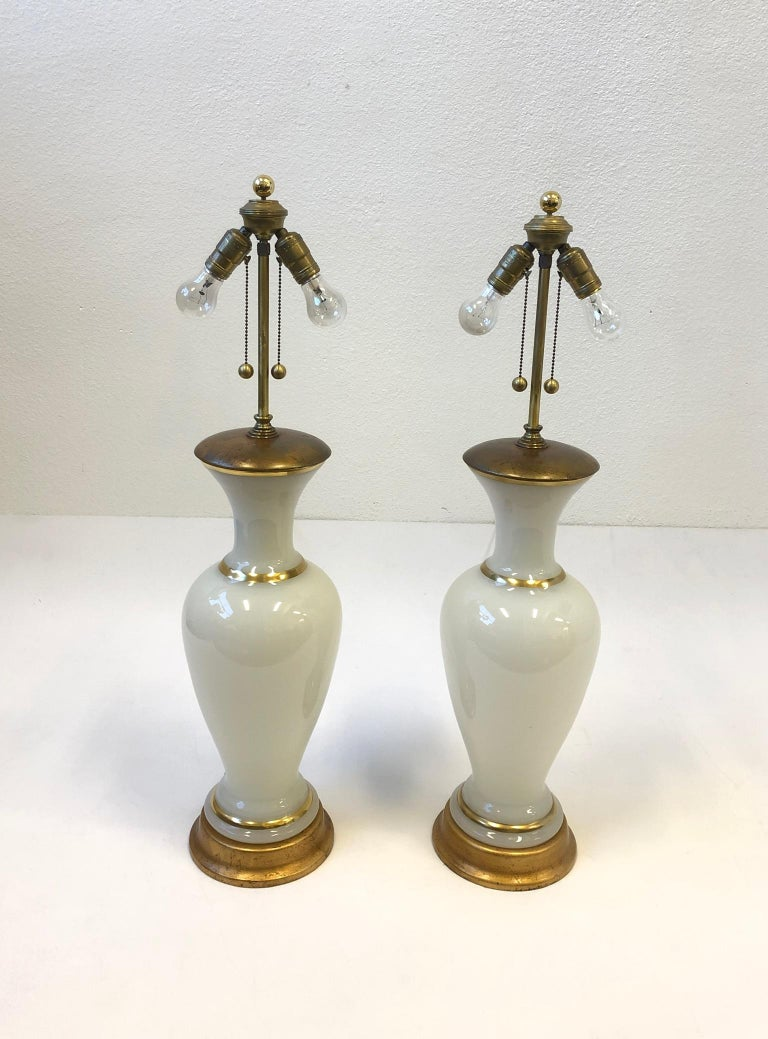 Gold Pair of White Murano Glass and Brass Table Lamps by Marbro For Sale