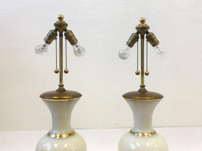 Pair of White Murano Glass and Brass Table Lamps by Marbro For Sale 1