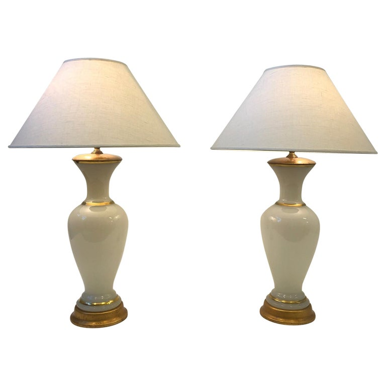 Pair of White Murano Glass and Brass Table Lamps by Marbro For Sale