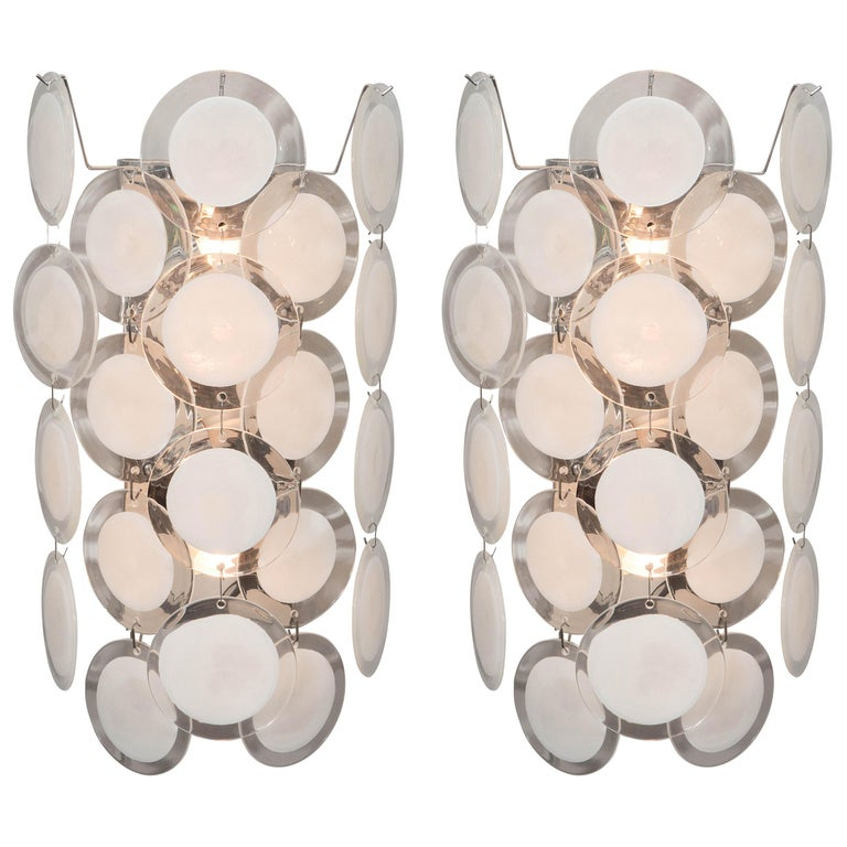 Pair of White Murano Glass Disc Sconces For Sale