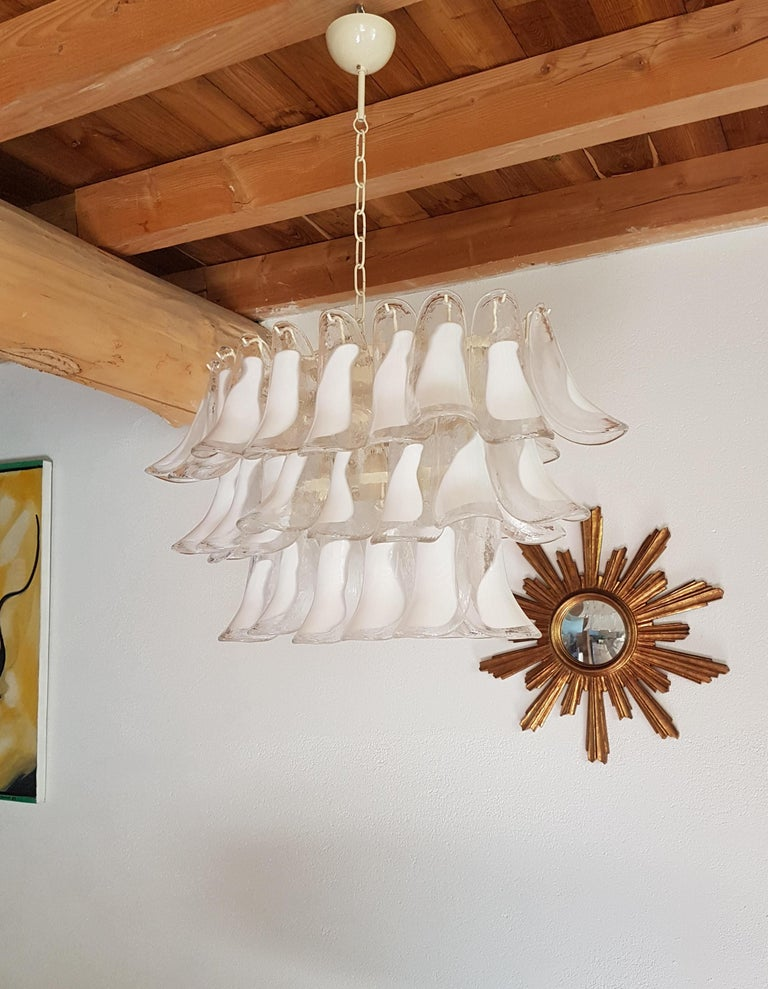 Italian Pair of White Murano Glass Oval Mid-Century Modern Chandeliers by Mazzega For Sale