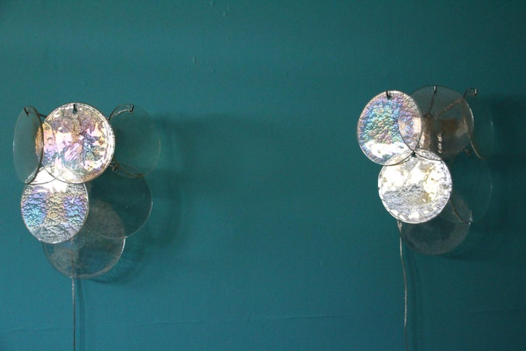 Pair of White Murano Glass Sconces, Iridescent and Pearly Disks For Sale 7