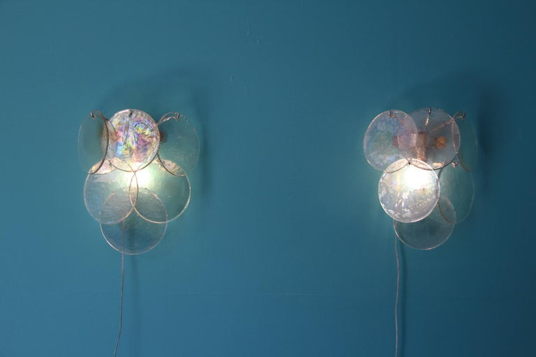 Mid-Century Modern Pair of White Murano Glass Sconces, Iridescent and Pearly Disks For Sale