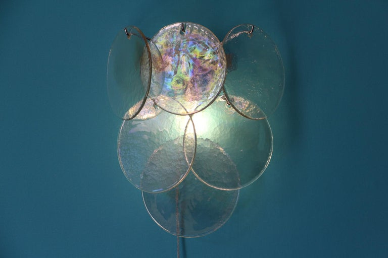 Italian Pair of White Murano Glass Sconces, Iridescent and Pearly Disks For Sale
