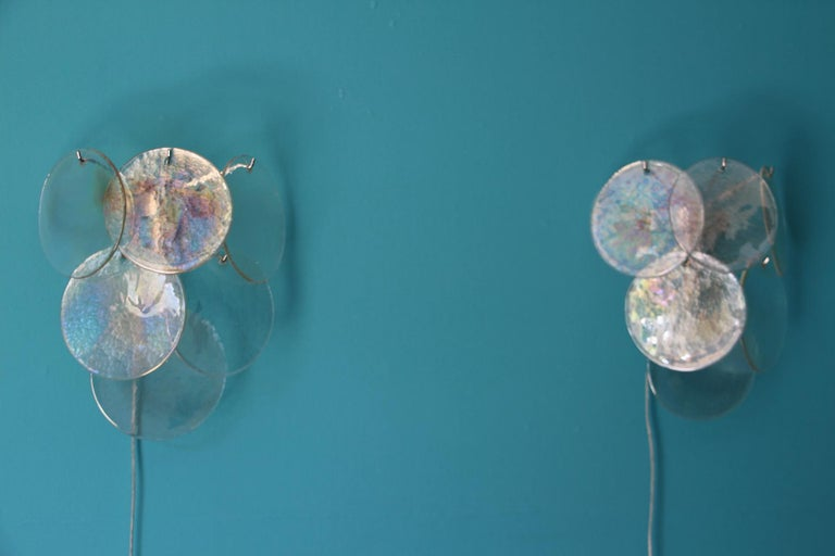 20th Century Pair of White Murano Glass Sconces, Iridescent and Pearly Disks For Sale