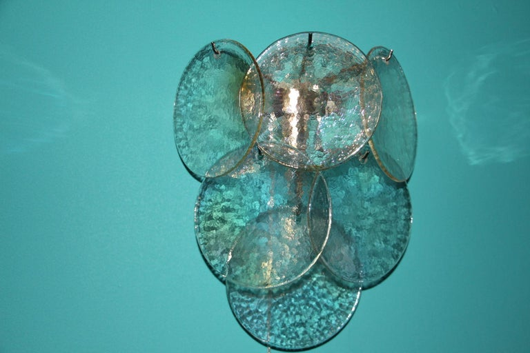 Pair of White Murano Glass Sconces, Iridescent and Pearly Disks For Sale 2