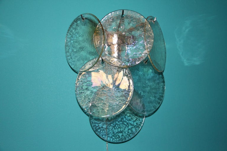 Pair of White Murano Glass Sconces, Iridescent and Pearly Disks For Sale 3