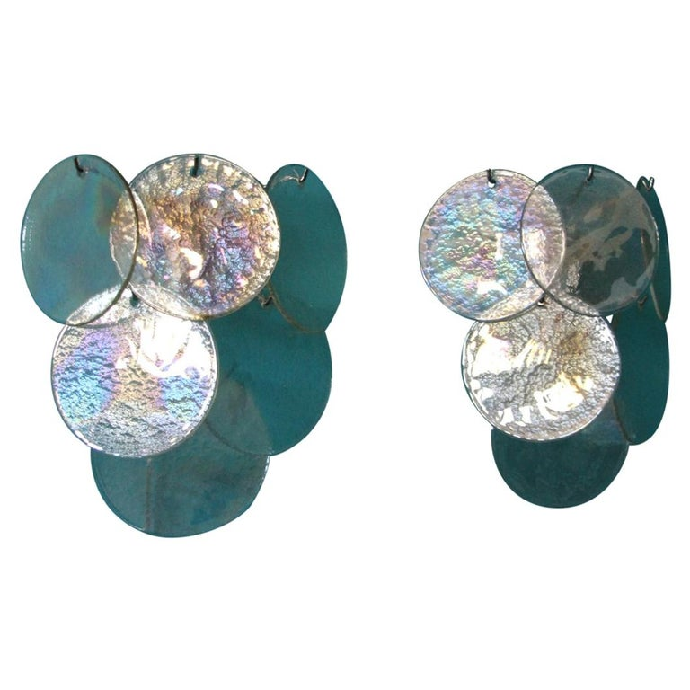 Pair of White Murano Glass Sconces, Iridescent and Pearly Disks For Sale