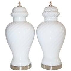 Pair of White Murano Lamps