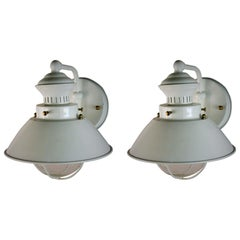 Pair of White Nautical Lantern Sconces