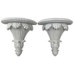 Pair of White Neo-Classical Carved Wall Brackets