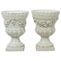 Pair of White Neoclassiclal Style Urns