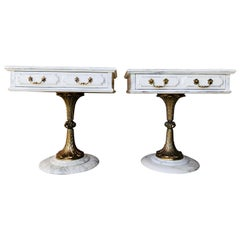 Pair of White Nightstands with One-Drawer and Bronze and Marble Pedestal
