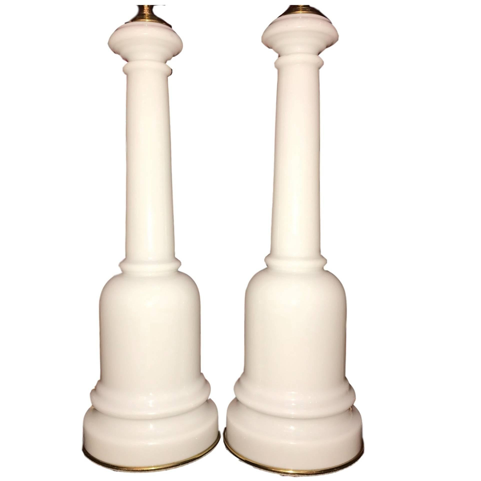 Pair of White Opaline Glass Table Lamps