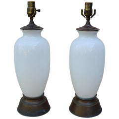 Pair of White Opaline Table Lamps