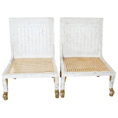 Pair of White Painted and Parcel-Gilt Thebes Chairs