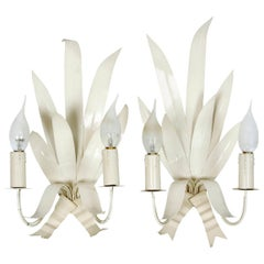 Pair of White Painted French Frond Sconces