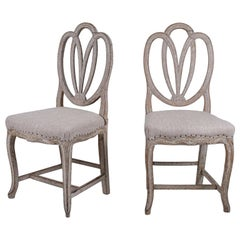 Pair of White Painted Gustavian Lindome Chairs