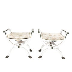 Pair of White Painted Gustavian Stools Attributed to Ephraim Stahl