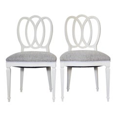 Pair of White Painted Loop Back Side Chairs
