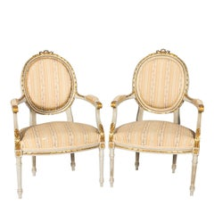 Pair of White Painted Louis XVI Style Armchairs
