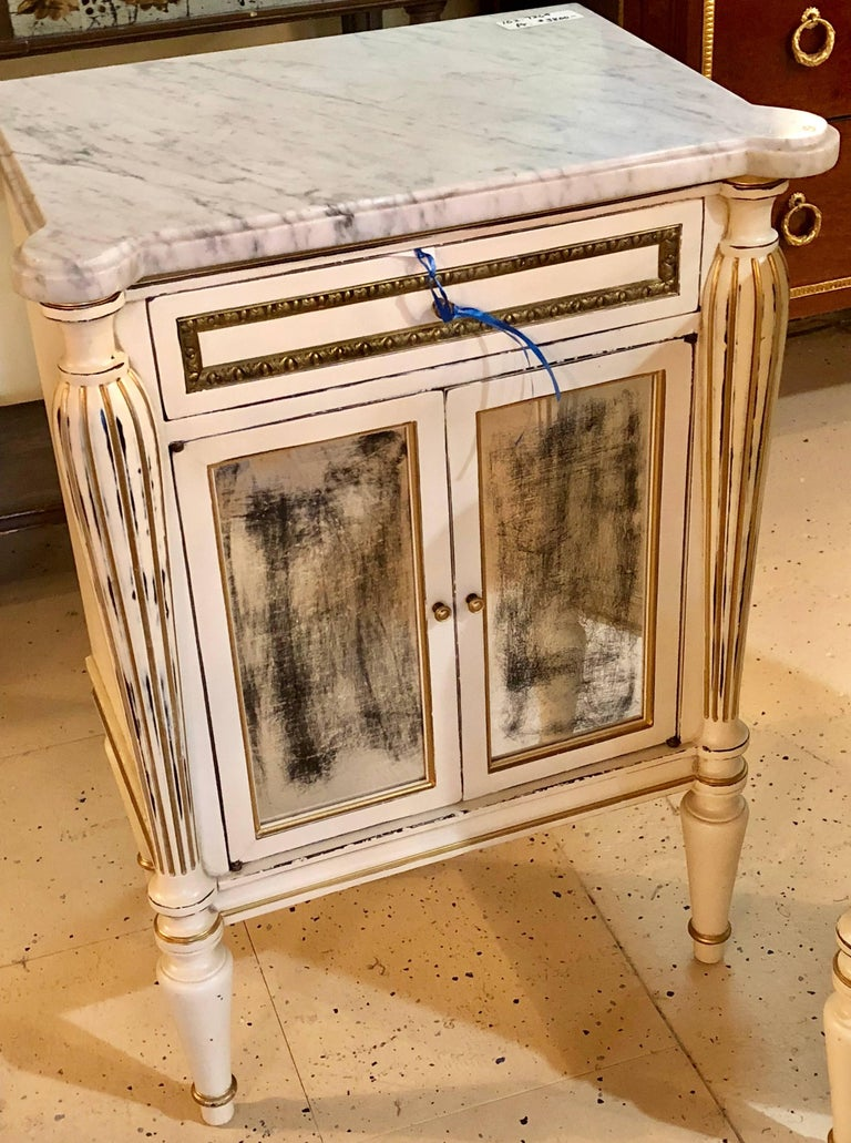 Pair White Painted Marble Top End Tables Distressed
