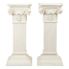 Pair of White Painted Neoclassical Carved Wooden Pedestals
