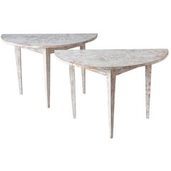 Pair of White Painted Swedish Demi-Lune Tables, circa 1900