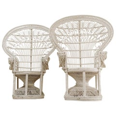 """Pair of White Painted Wicker Peacock """"Emanuelle"""" Chairs"""