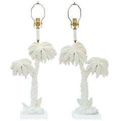 Pair of White Palm Tree Lamps