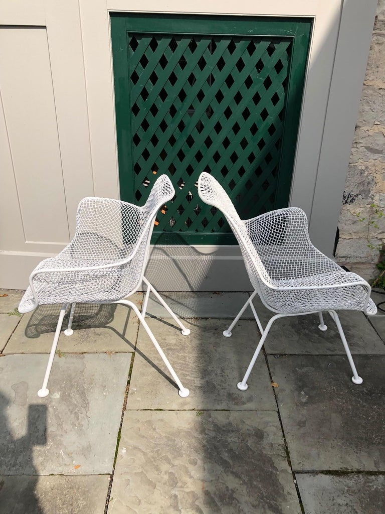 Pair of White Patio Chairs For Sale 3