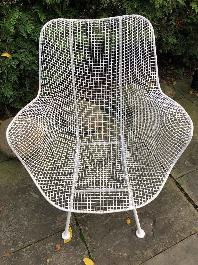 American Pair of White Patio Chairs For Sale