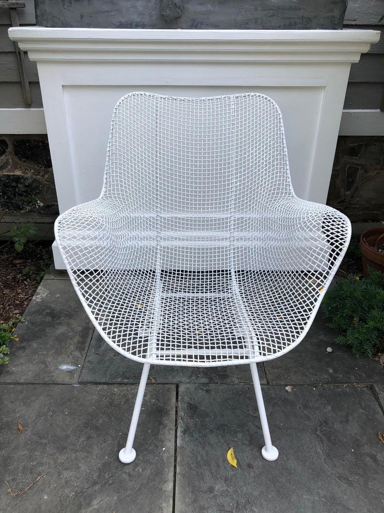 Painted Pair of White Patio Chairs For Sale