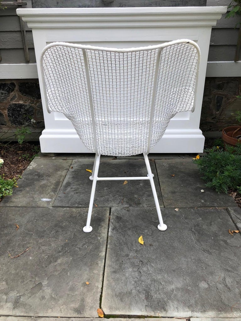 Metal Pair of White Patio Chairs For Sale