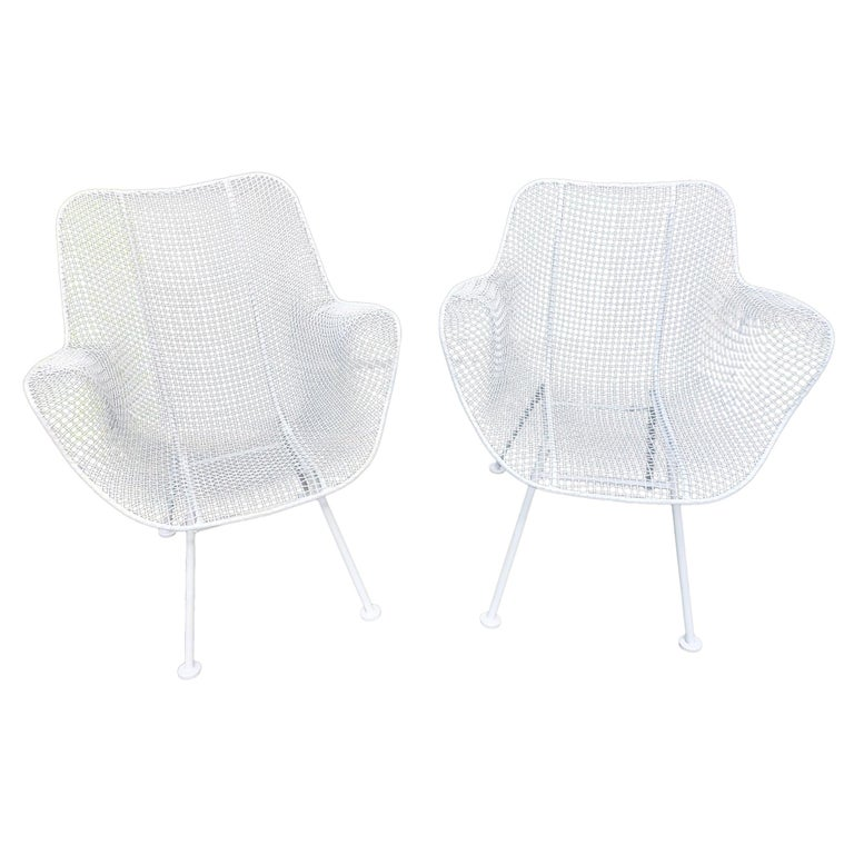 Pair of White Patio Chairs For Sale