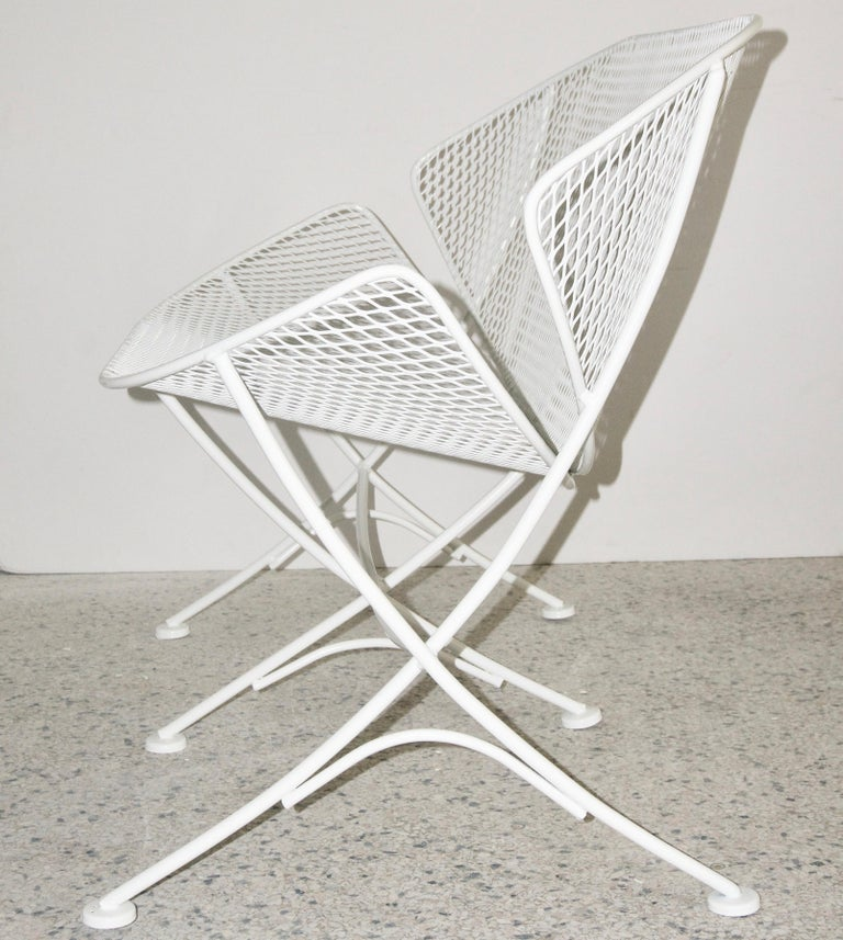 Mid-Century Modern Pair of White Patio Settees For Sale