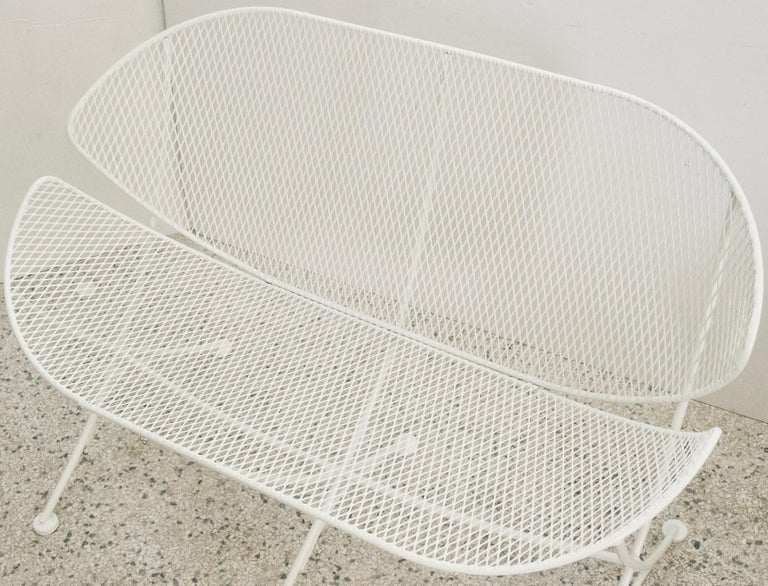 American Pair of White Patio Settees For Sale