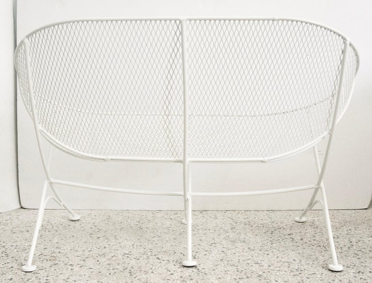 Powder-Coated Pair of White Patio Settees For Sale
