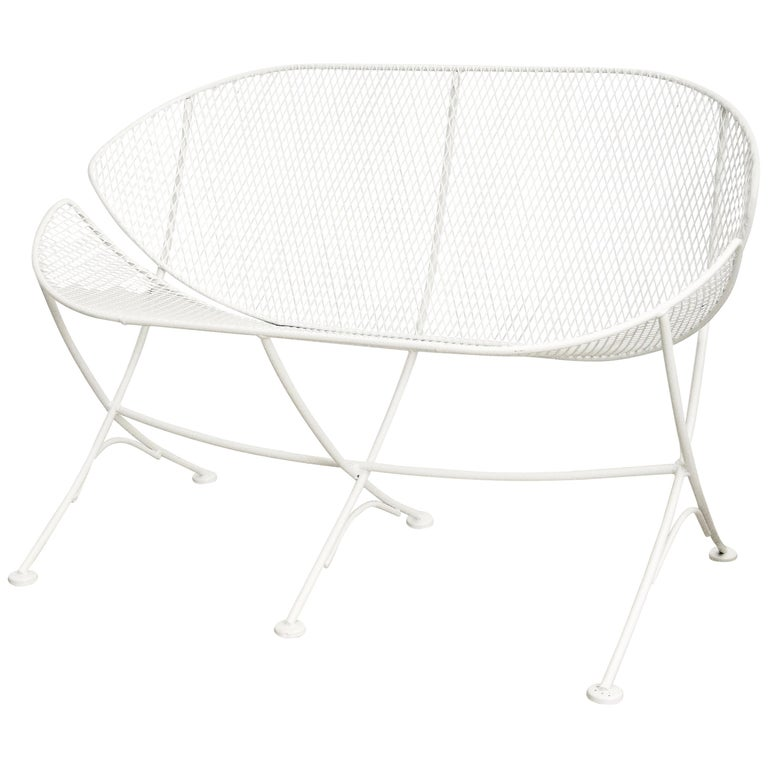 Pair of White Patio Settees For Sale