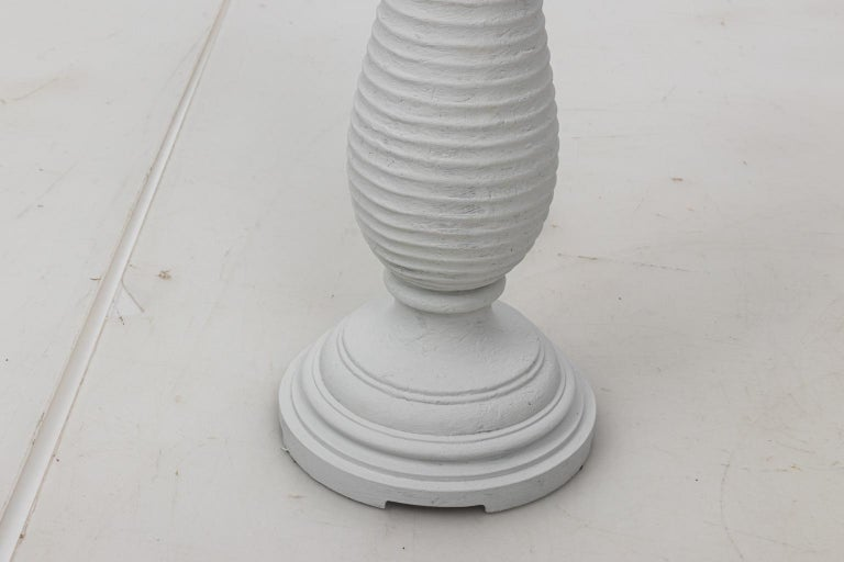 Pair of White Plaster Palm Table Lamps For Sale 1