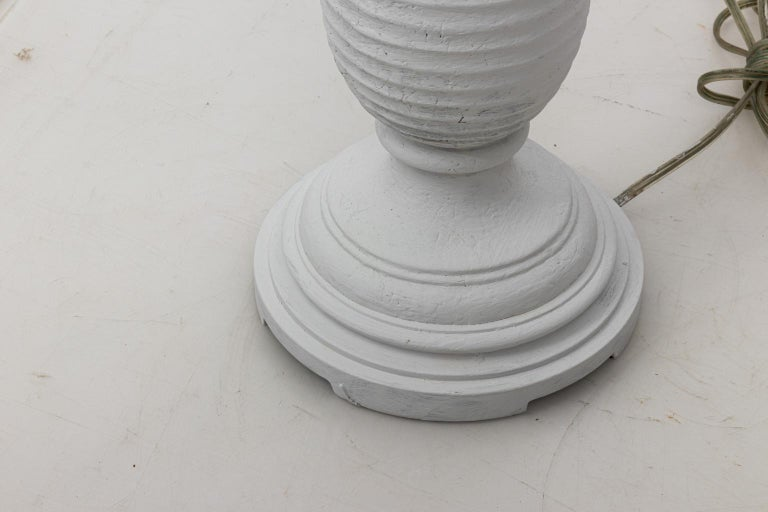 Pair of White Plaster Palm Table Lamps For Sale 3