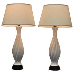 Pair of White Porcelain Baluster Form Table Lamps