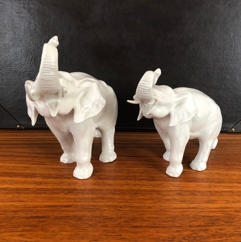 Pair of White Porcelain Elephant Sculptures by Royal Dux For Sale 7