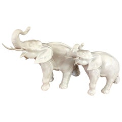 Pair of White Porcelain Elephant Sculptures by Royal Dux
