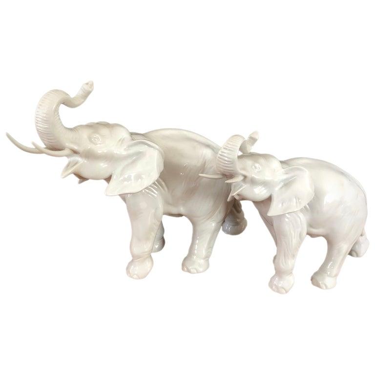 Pair of White Porcelain Elephant Sculptures by Royal Dux For Sale